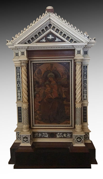 """Santa Maria dei Fossi"" (after Pinturicchio). Intarsia panel of various woods within an ivory covered frame. Attributed to Alessandro Monteneri (Perugia 1832 - 1920)"
