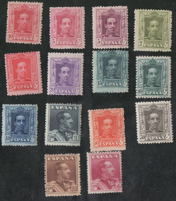 Spain 1922/1930 - Alfonso XIII, Vaquer type - Edifil 310/323