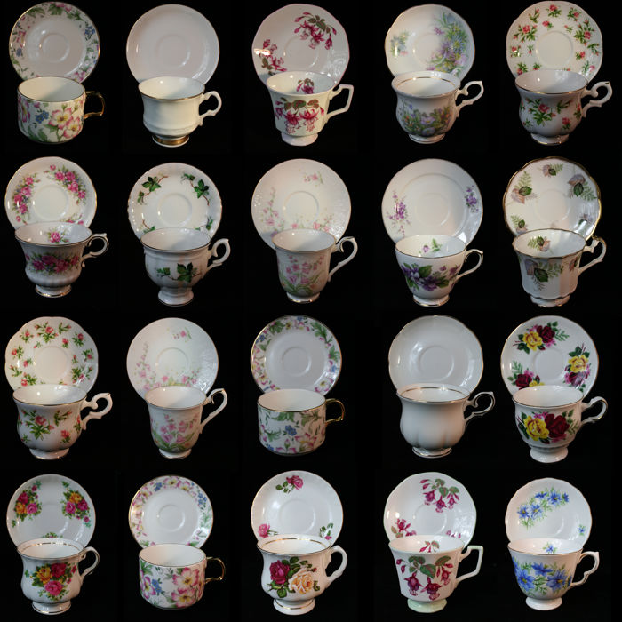 Collection of 20 exclusive English porcelain cups and saucers fine bone china Royal Albert  sc 1 st  auctions - Catawiki & Collection of 20 exclusive English porcelain cups and saucers fine ...