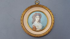 Miniature painting on ivory - Madame Chelgrus - anagrams JH - France - circa 1890