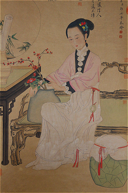 Hand-painted scroll painting of beauty《郎世宁--仕女》- China - late 20th century