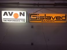 2 original light advertising boxes with double-sided caption Gislaved and Avon tyres. With functioning light. NO RESERVE