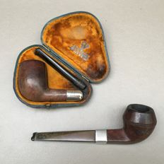 "Two briar pipes with silver ferrules: ""BBB"" and ""HFS"", one in a in case - England, ca. 1900"