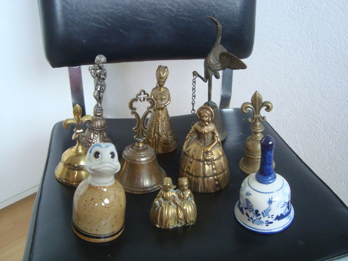 Collection of 10 old hand bells