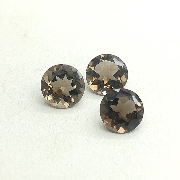 Set of 3 Fumé Quartz, 9.54 ct