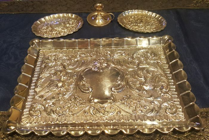 3 trays and a candle holder - 925 sterling silver