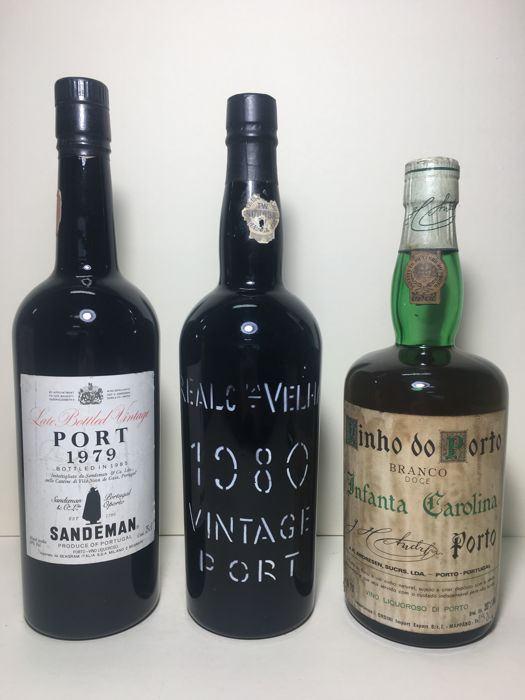 1980 Vintage Port - Real Companhia Velha & 1979 Late Bottled Vintage Port Sandeman & NV Porto Branco - Andresen Infanta Carolina - 3 bottles in total
