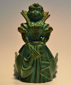 Jean-Paul Le Verrier - Art Deco green patinated spelter pin tray