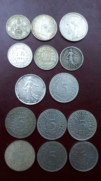 Europe - Lot of 14 coins (France, Germany, Switzerland, etc) - silver