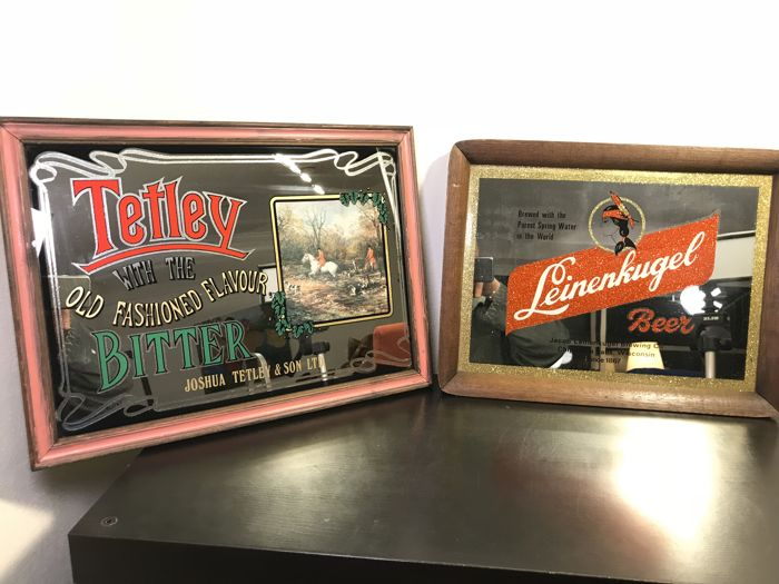 Two beer mirrors - Old American Leinenkugel mirror and British Tetley Bitter mirror - 1950s