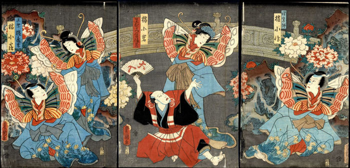 Woodcut triptych by Utagawa Kunisada I (1786-1865) - Kabubi performance - Japan - 1859