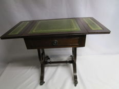 Mahogany Regency style Folding flap Table - 1 Drawer - Green Leather top - Brass clawed feet, England, Second half of the 20th century