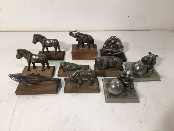Ten silver-plated WWF animals
