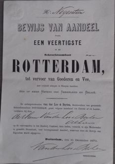 1870 - Nederland - Schroefstoomboot Rotterdam  - 1\40th Share with copy of the Reeederij Contract