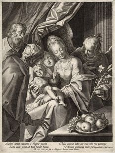 Hans van Aachen after, Aegidius Sadeler, ca 1593 - Holy family with St. Anne and two angels