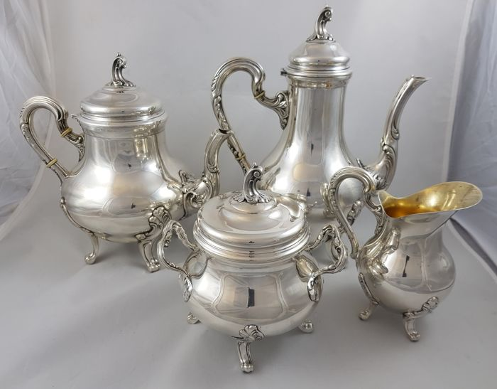Tea and coffee set in silver 800 Italy, early 1900s