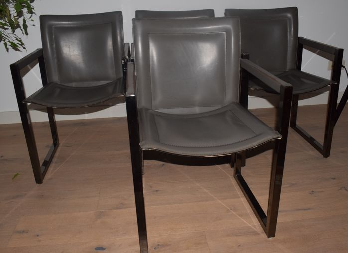 Arrben Italy 4 Designer Dining Room Chairs Leather Metal Frame