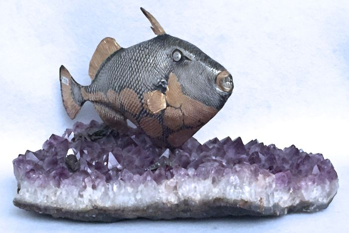Silver and Amethyst Sculpture, Silversmith of Milan (Italy), 20th century
