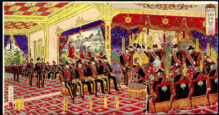 "Originele houtsnede drieluik door Sekisai Kuniyasu (act. 1880-1890s) - ""Celebration Banquet at the New Imperial Palace"" - Japan - 1887"