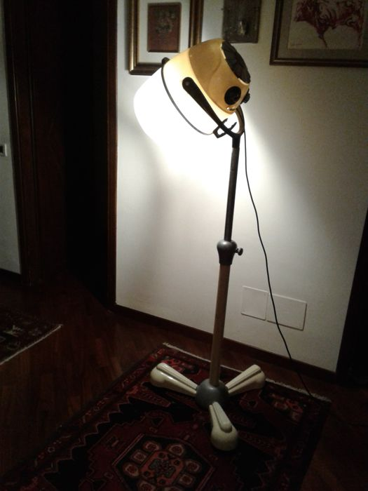 Floor lamp made of a hairdresser's dryer hood - the brand of the hood is Jupiter