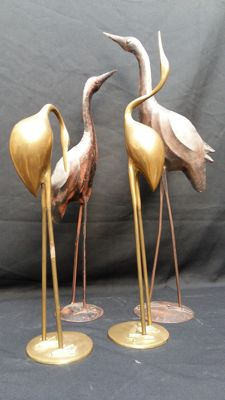 Producer unknown - brass and metal herons/cranes in Hollywood Regency style