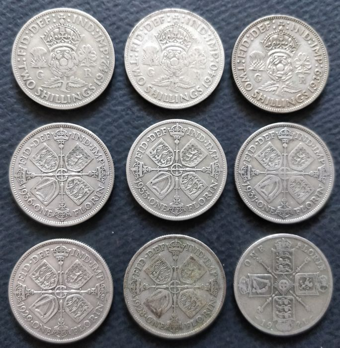 Great Britain - Florin (Two Shillings) 1921 - 1942 George V & VI - 9 pieces - Silver