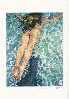 "Manara, Milo - 2x lithographs ""Tuffo"" and ""Mozart"""