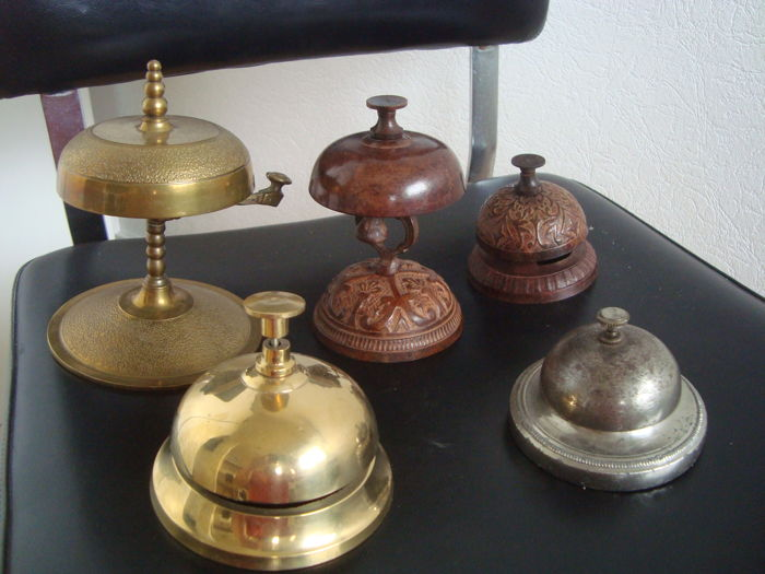 Collection of 5 old bells hotel and counter