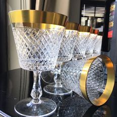 Set of 6 Crystal Wine glasses, Goblets, richly diamond waffle pattern, 24 Carat Gold rim,  glassware. Exclusive Barware, Bar Cart items