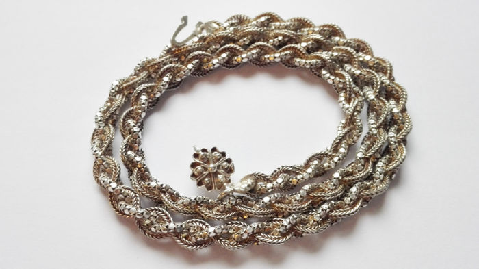 Antique necklace with braided strands of 925 silver