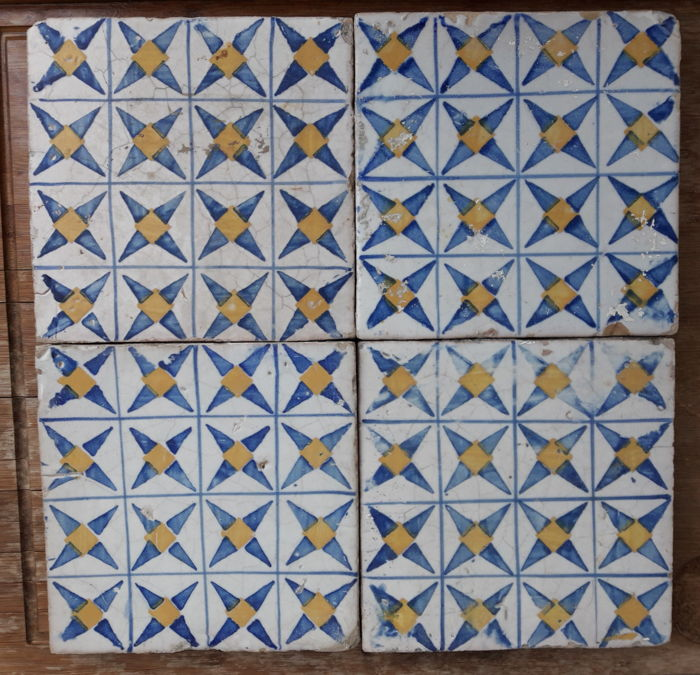 """Lot of 4 polychrome majolica tiles known as """"Riggiole"""" Partially legible stamped logo on the back"""