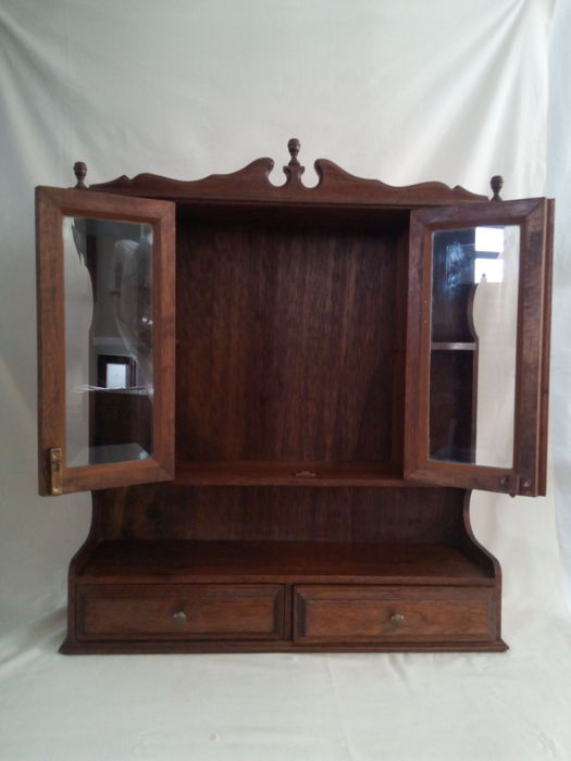 Small Mahogany Cabinet For Special Art Pieces   Religious Sculptures    Fatima Sanctuary