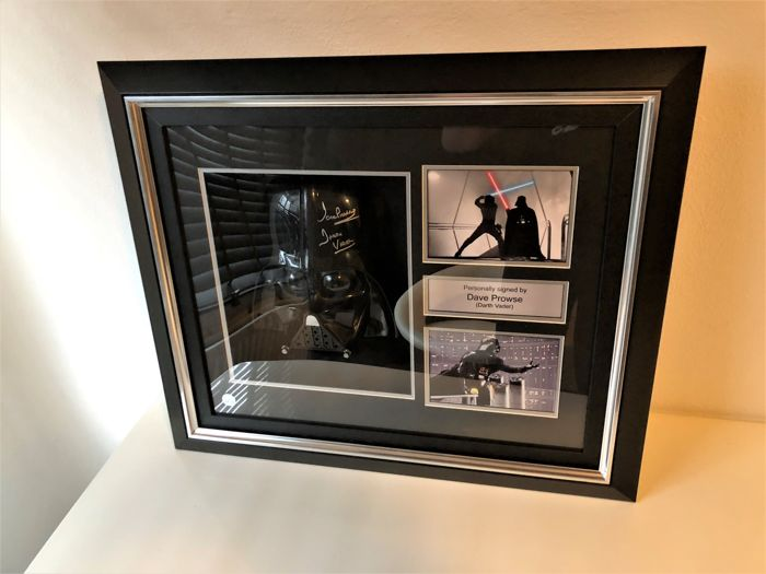 star wars darth vader signed mask in deluxe black frame. Black Bedroom Furniture Sets. Home Design Ideas