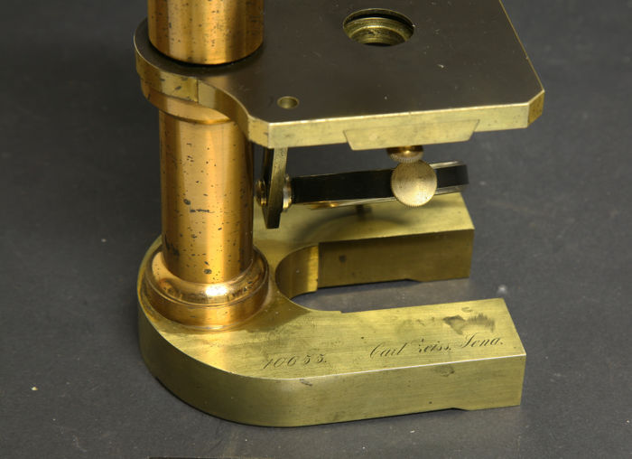 Antique brass carl zeiss jena microscope in hardwood box ca