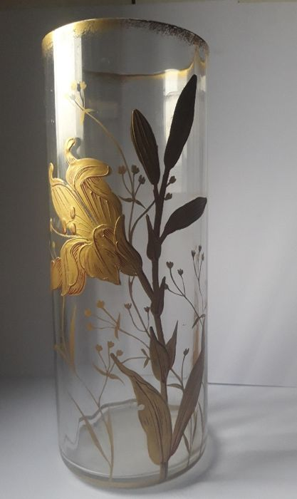 Baccarat (attr.) - Vase in crystal gilt with fine gold, floral decoration