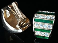 Christian Dior - emerald green clip earrings - Vintage