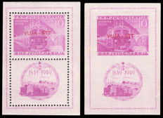 Trieste B, 1949 - Lot of 2 perforated and imperforated hb stamps - Yvert no.: 1; 1 imperforated, Sass. No.: 1/2.