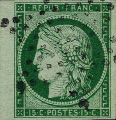 France 1850 – Cérès 15 centimes, dark green, edge of a sheet, signed Calves with a Cérès certificate – Yvert n°2b