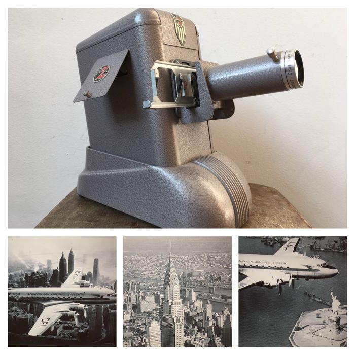Zett slide projector with beautiful vintage slides of New York city