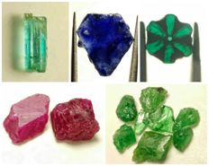 Collection of natural crystals:  Trapiche Emerald, Emerald, Sapphire, Ruby, Tsavorite - 15.5 ct.