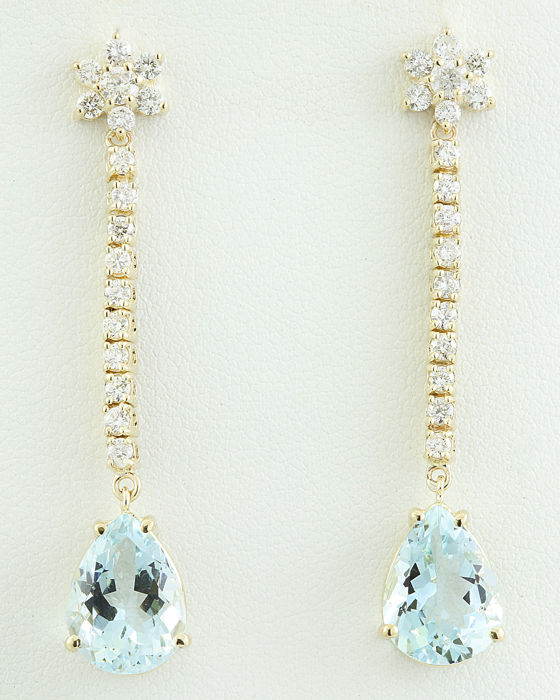 14.08 Carat Aquamarine And Diamond Earrings 14K Solid Yellow Gold - No reserve Price