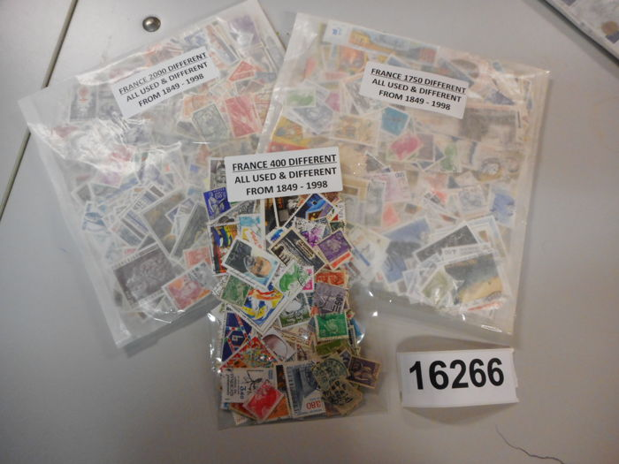 France, various years - 3 sachets with 4,150 stamps in total (different stamps per sachet)