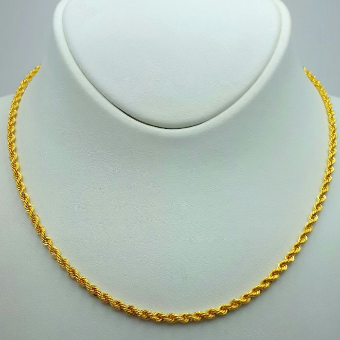 60cm Rope Chain, 14Ct Yellow Gold, length 60cm, Thickness:2.10 mm, Total Weight 3.13g
