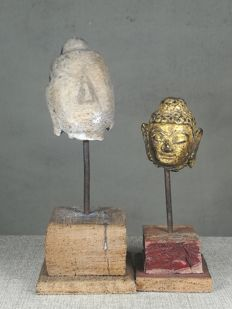 Two Buddha head - Stone and Lacquer Gilt - Thailand - 19th century