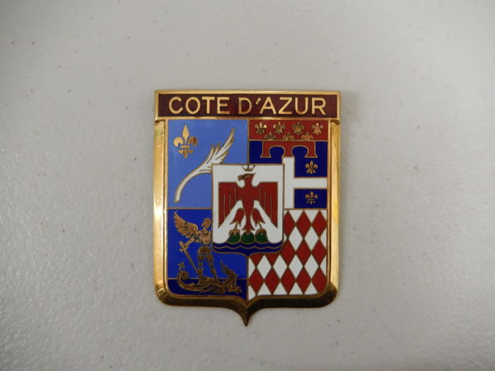 Vintage Brass and Enamel Cote D'Azur Car Multi Flag Region Car Badge Auto Emblem