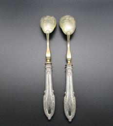 Sterling Silver salad serving utensils, Minerva's head hallmark, early 20th century, engraved, monogrammed, Louis XVI style