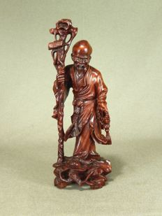 Detailed, finished rosewood sculpture of Luohan - China - first half/middle of the 20th century