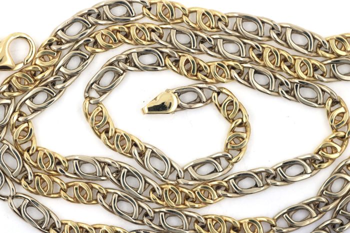 Necklace made of 750 / 18 kt yellow and white gold – 64.5 cm