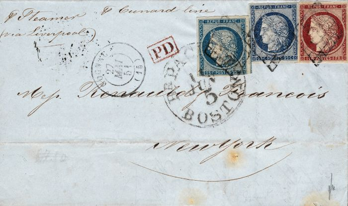France 1851 – Letter to Destination of New York with 1 carmine franc and two units of 25 blue centimes. Certificate – Yvert n° 4 and 6