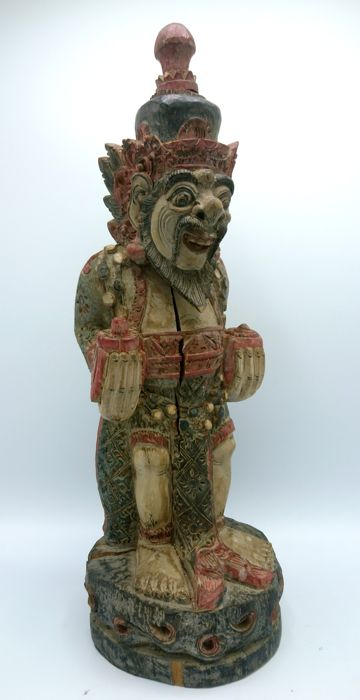 Wooden polychrome statue of a priest - Bali - Indonesia - 2nd half 20th century
